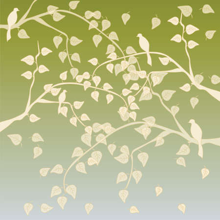 shape vector: Autumn tree with leaves background in soft golden green and sage shades. Vector