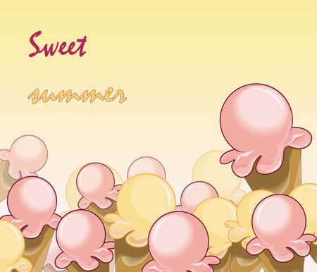 pistachios: Ice Cream Background. Sweet summer text. Vector Illustration