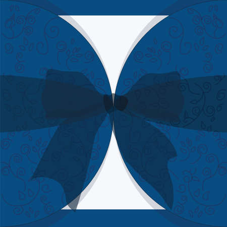 royal wedding: Invitation card with bow and ornaments for wedding, ceremony or anniversary in royal blue. Vector