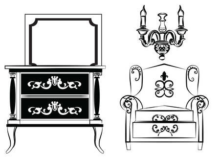 Classic wall frame and furniture. Interior design decoration panels and furniture. Frontal view. Vector