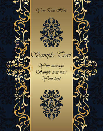 Golden Invitation card with vintage round ornaments in black. Vector