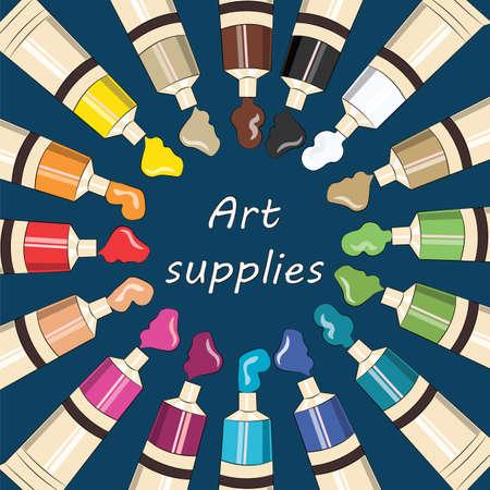 art supplies: Art supplies for school or college. Vector Illustration