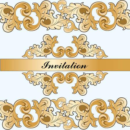 Reale imperiale invito ornamento classico damascato in color oro. Vettore