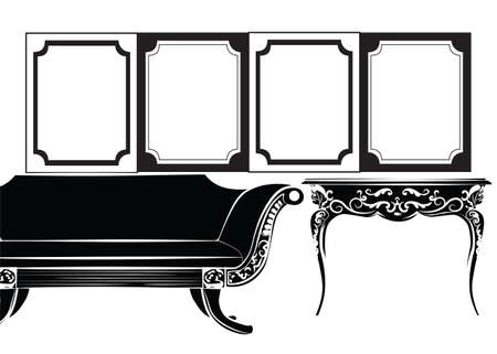frontal view: Classic wall frames and furniture. Interior design decoration panels and furniture. Frontal view. Vector