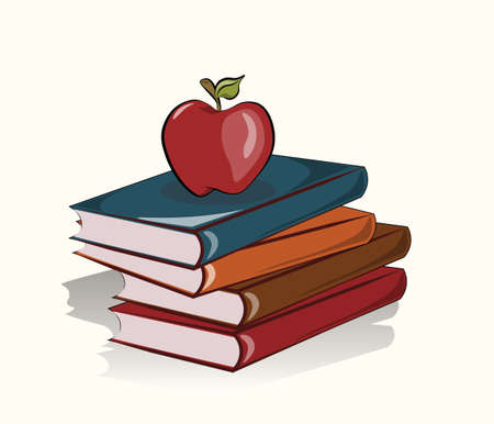 bag cartoon: Books and apple school background. Vector