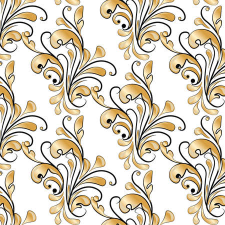 shinning leaves: Golden Classic style ornament pattern. Vector