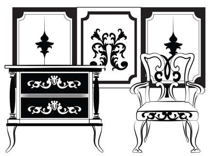 Classic wall frames and furniture. Interior design decoration panels and furniture. Frontal view. Vector