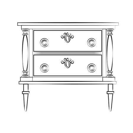 Classic royal ornament table furniture with drawers. Vector