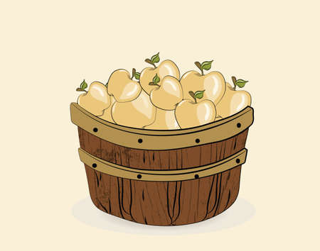 red apples: Red apples in a wooden basket. Vector
