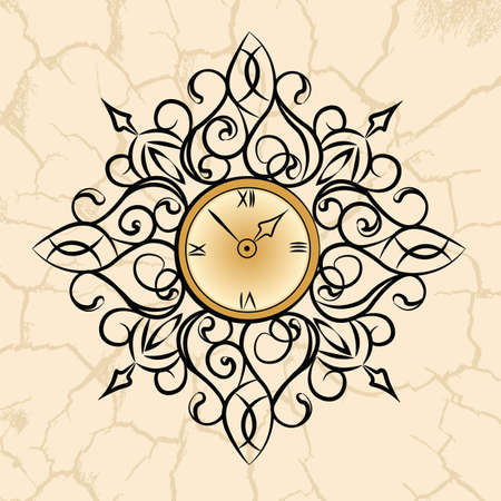 classic style: Classic style circular clock with ornaments. Vector