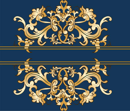 imperial: Royal imperial classic ornament damask invitation in gold. Vector