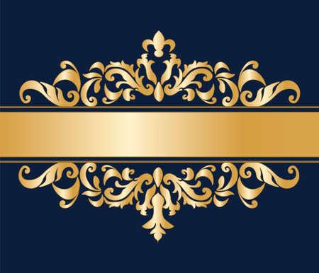 royal: Royal classic ornament damask invitation in blue. Vector Illustration
