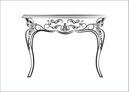 classic furniture: Classic royal ornament table furniture. Vector
