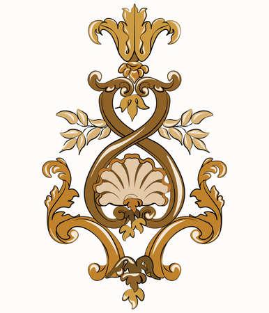 Rococo golden ornament element. Vector