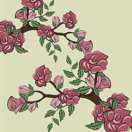 sprig: Sprig of Rose flower bush frame. Vector Illustration