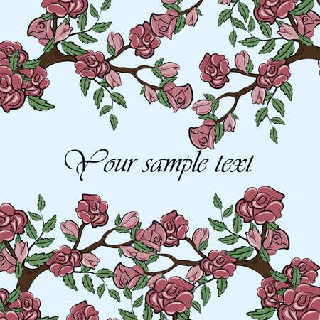 Sprig of Rose flower bush frame. Vector Illustration