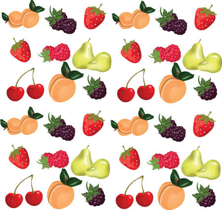 Summer fruits set. Vector Illustration
