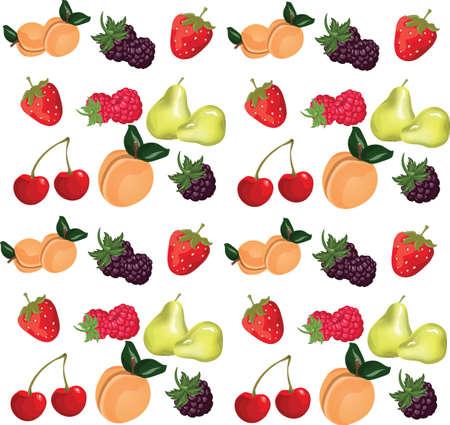 Summer fruits set. Vector Stock Illustratie