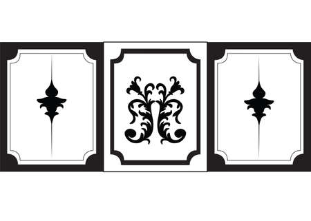 Classic wall frames. Interior design decoration panels. Frontal view. Vector Vettoriali