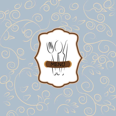 wedding table setting: Menu Vintage background with ornaments.