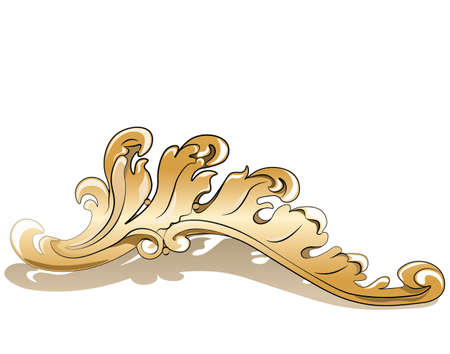 gold leaf: Royal golden ornament element. Vector