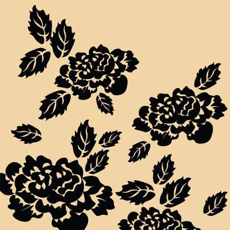 rosas negras: Negro de fondo rosas. Vector