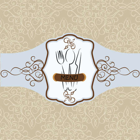 wedding table setting: Menu Vintage background with ornaments. Vector Illustration