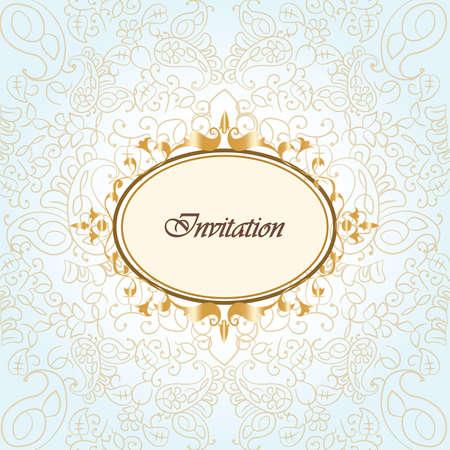 framework: Gold frame invitation with ornaments background. Vector