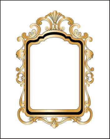 mirror frame: Golden Decor Mirror frame. Vector