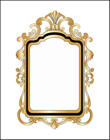 Golden Decor Mirror frame. Vector