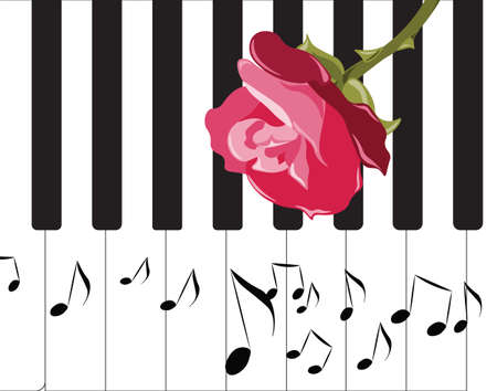 melodious: Abstract Piano Music and red Rose. Vector