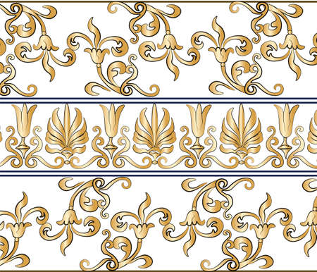 shinning leaves: Classic empire style ornament pattern. Vector