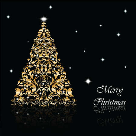 ornamented: Classic royal golden ornamented Christmas tree card. Vector