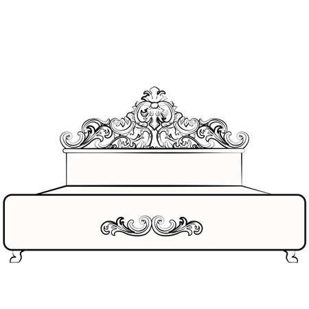 baroque room: Royal Bed with baroque damask ornaments. Vector sketch Illustration