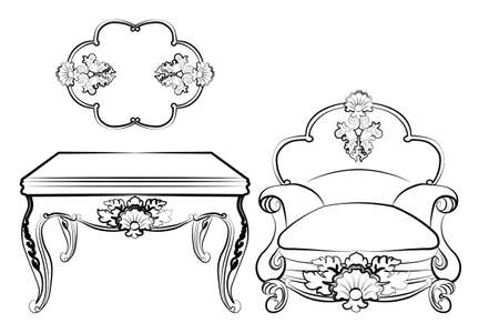 baroque furniture: Baroque royal set of furniture with damask ornaments. Vector