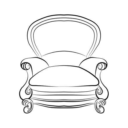 Klasyczny fotel królewski z ozdobami luxuus. Wektor szkic
