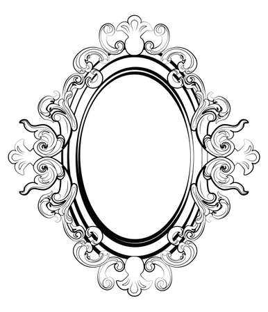 Baroque royal frame with luxurious damask ornaments. Vector