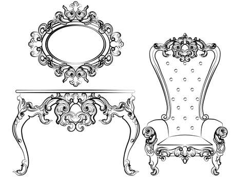 Baroque royal set of furniture with damask ornaments. Vector
