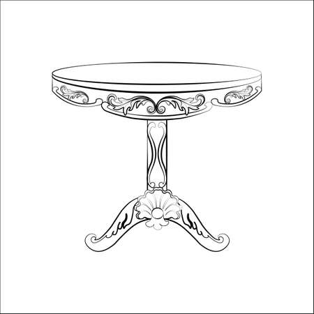 round table: Elegant classic round table in baroque style with luxurious ornaments. Vector