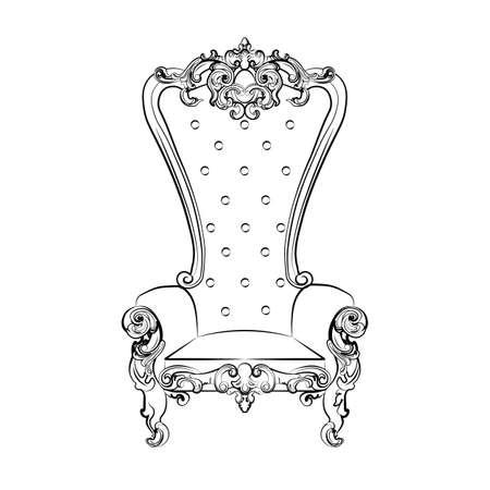 Barokowy królewski fotel z luksusowych ozdób. Wektor szkic