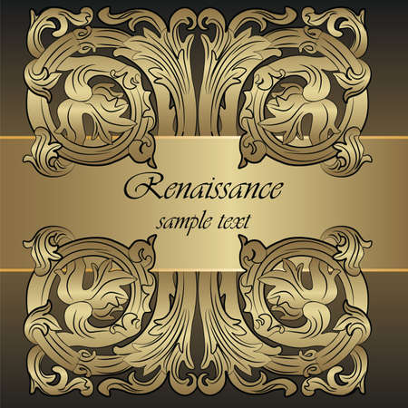 background designs: Renaissance Royal classic ornament invitation in bronze. Vector