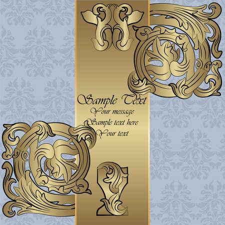 renaissance: Renaissance Royal classic ornament invitation in bronze. Vector