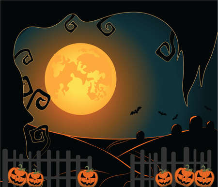 shinny: Halloween background with shinny night moon, pumpkins and trees. Vector