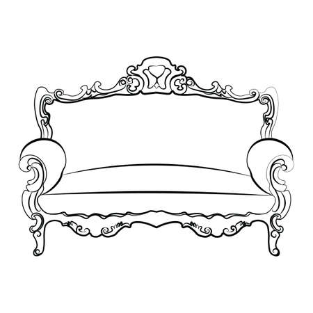 sofa: Royal Sofa with classic ornaments. Vector