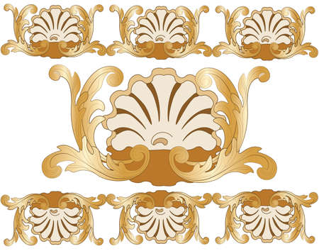 shinning leaves: Bronze Classic style ornament pattern. Vector