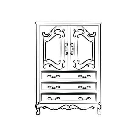 wardrobe: Classic vintage wardrobe sketch. Vector