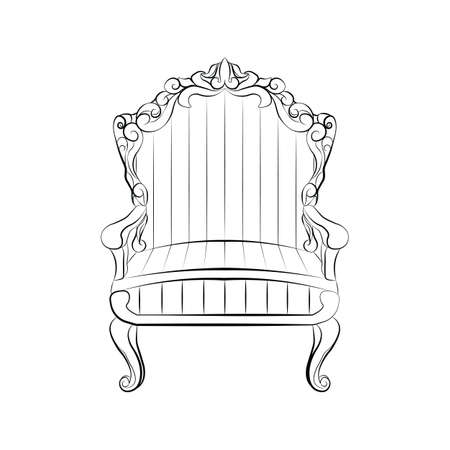 armchair: Classic royal armchair with luxurious ornaments . Vector sketch