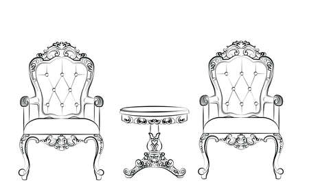 Set of classic furniture with rich baroque ornaments. Vector