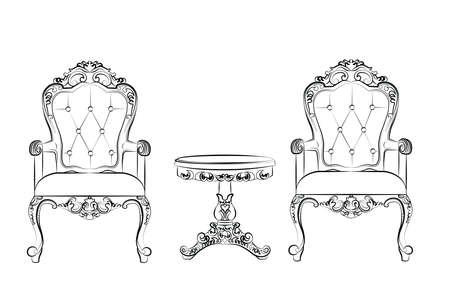 Zestaw klasycznych mebli z bogatymi barokowymi ornamentami. Wektor