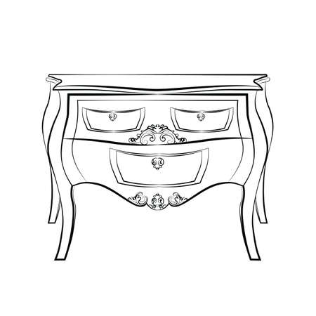luxury furniture: Classic furniture with royal luxury ornaments and drawers. Vector
